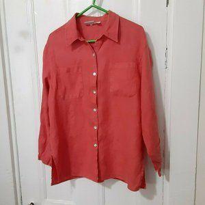 Chico's linen salmon pink shirt L